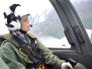 Student pilot at the controls