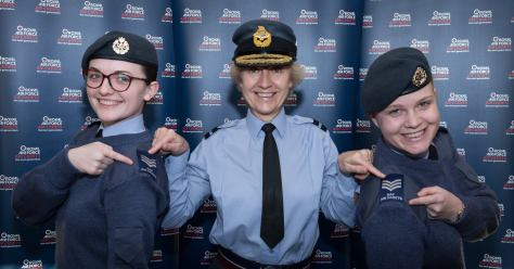 Sgt Esther Taylor (Right) is presented with her new Sergeant Rank Slides by Air Commodore Dawn McCafferty (Centre), Commandant Air Cadets.