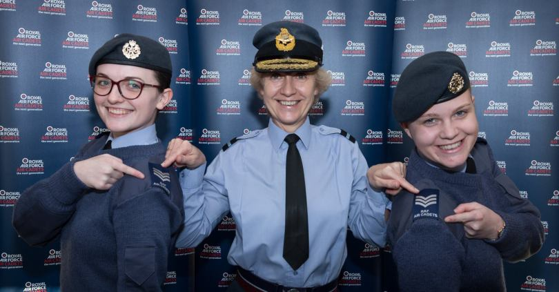 Sgt Taylor (Right) being presented with her Sergeant rank slides on graduating RAF Cranwell. Dec 2017.