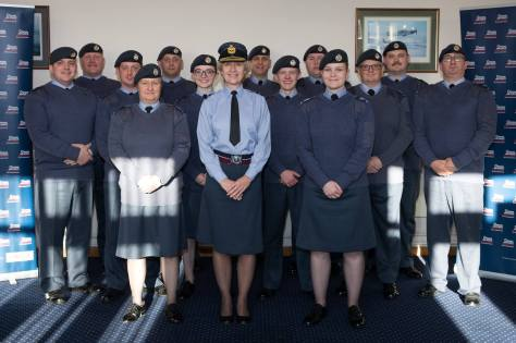 Sergeant Taylor (Front, Right) with the rest of her graduating class at the Adult Training Facility (ATF) at RAF College Cranwell.