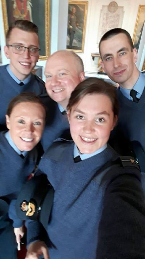 Flt Lt Adam Fowler graduating with fellow students at RAF College Cranwell. Adam is in the centre.