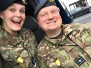 Sergeant Esther Taylor (left) and Flight Lieutenant Adam Fowler (right) with medals after completing the RAFWARMA Winter Warma road march near Sandbach.